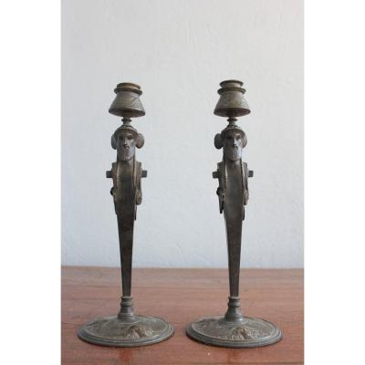 19th C. Pair Of Bronze Candelabras Signed Oudin