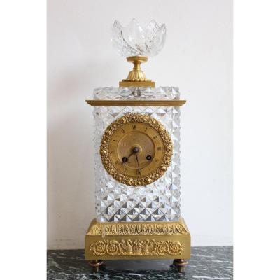 19th Century Baccarat Crystal Clock Oudin Student Of Breguet