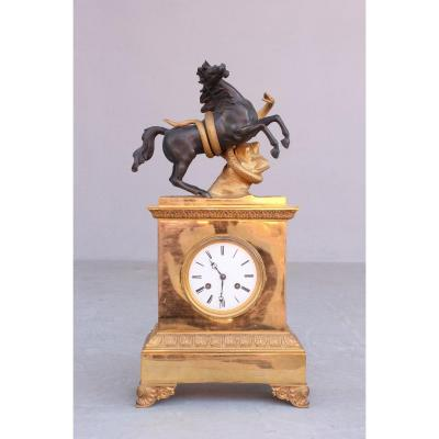 19th C. Restoration Clock  Horse Attacked By Snake