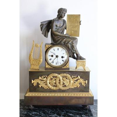 Empire Clock In Gilt Bronze 19th Century