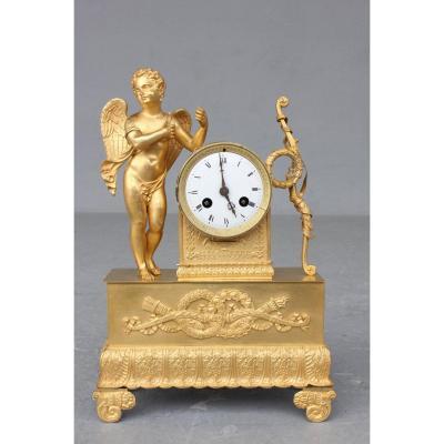 19th C. Gilt Bronze Clock With Angel Decor