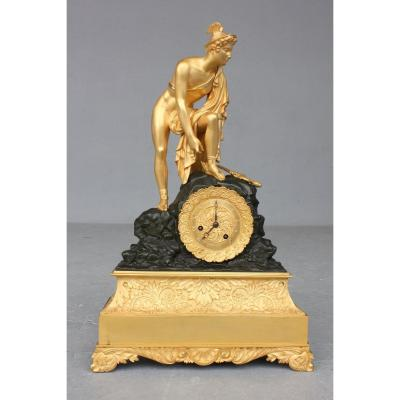 19th C. Restoration Gilt Bronze Clock With Mercury Decor