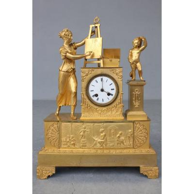 19th C. Gilt Bronze Clock  Allegory Of Painting