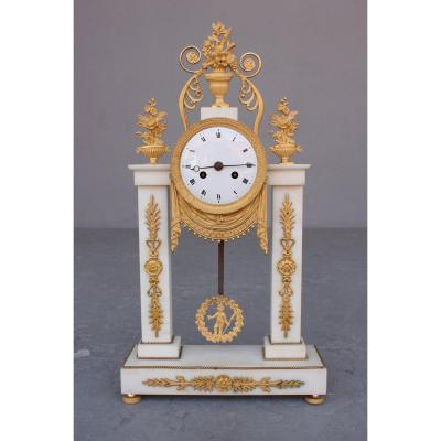 19th C. Marble And Bronze Portico Clock