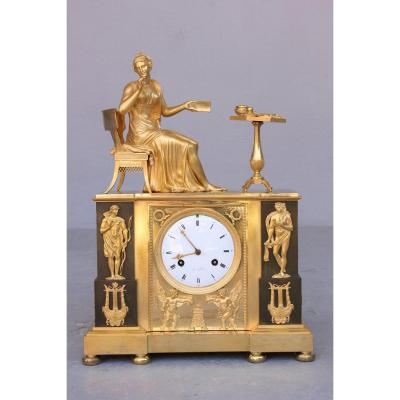 Gilt Bronze Clock From Empire Period 19th Century
