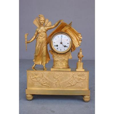 19th C. Empire Period Clock Representing The Dawn