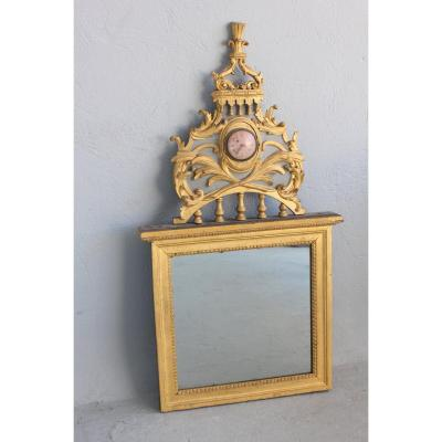 18th Century Austrian Mirror With Clock