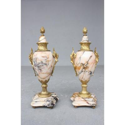 Pair Of Cassolettes In Marble And Gilded Bronze Late 19th Century