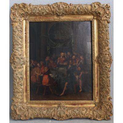 Flemish Painting Representing The Last Supper 18th Century