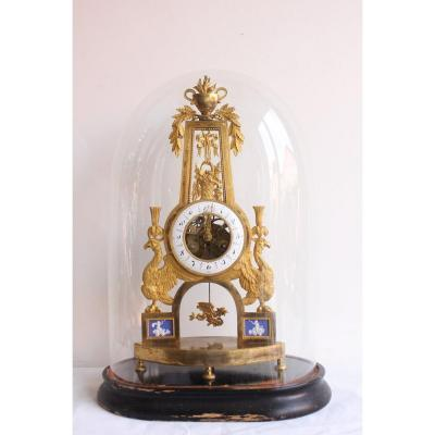 Skeleton Clock  With Phoenix Decor Directoire Period