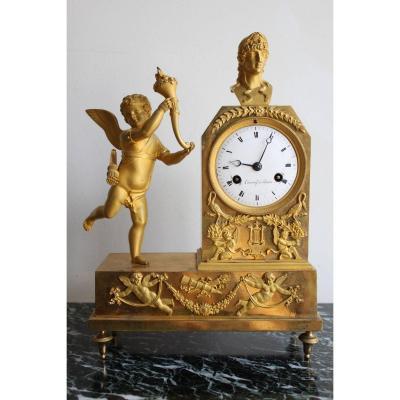 French Empire Cherub Gilt Bronze Clock