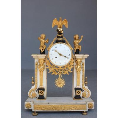 Marble Clock Decorated With Eagle And Puttis Late 18th Early 19th Century