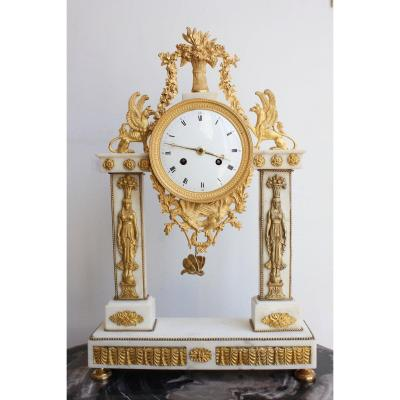 19th Century Marble Clock Return From Egypt
