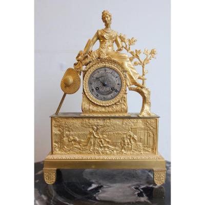 19th Century Gilt Bronze Clock  Representing A Shepherdess