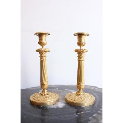 Pair Of Gilt Bronze Candelabras 19th Century