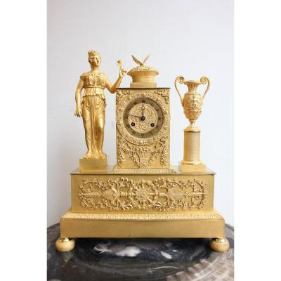 19th C.  Gilt Bronze Clock Woman With Urn And Butterfly