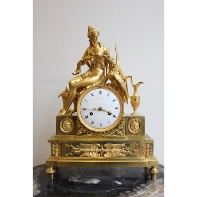 19th. C. Empire Gilt Bronze Clock Decorated With Hebe