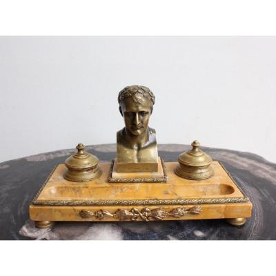 19th Century Inkwell In Bronze And Marble