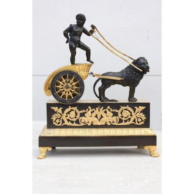 Pendule Char Tiré Par Un Lion Epoque Empire XIXème