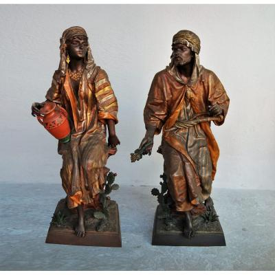 Late 19th Century Orientalist Spelters By Guillot