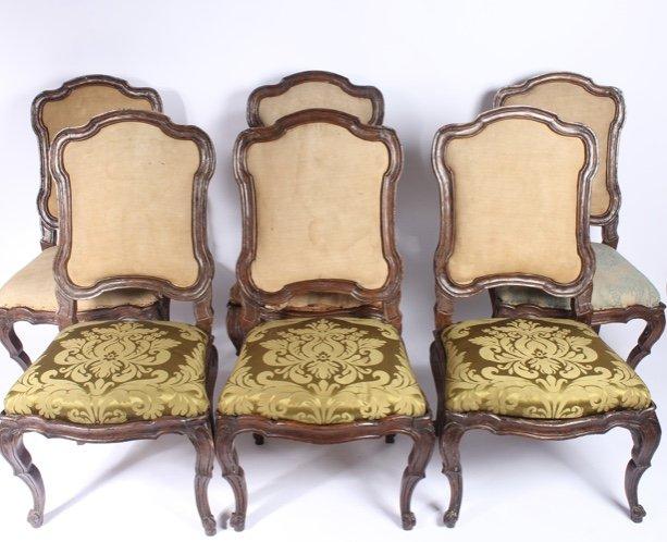 Série De 6 Chaises à Châssis Lombardes, 18ème Siècle