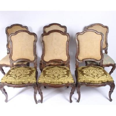Set Of 6 Chairs With Lombard Chassis, 18th Century