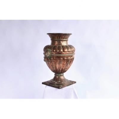Large Copper Vase With Lions 19th Century