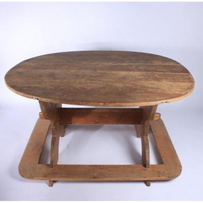 Rare Table De Bistro Suédoise 19ème Siècle, Peinture D'origine