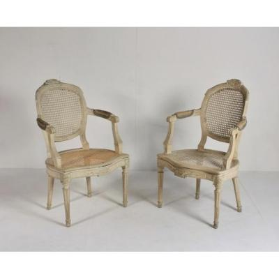Pair Of Caned Armchairs 18th Century