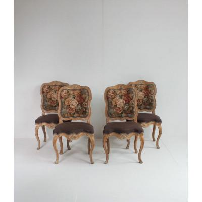 Series Of 4 Period Rococo Chairs
