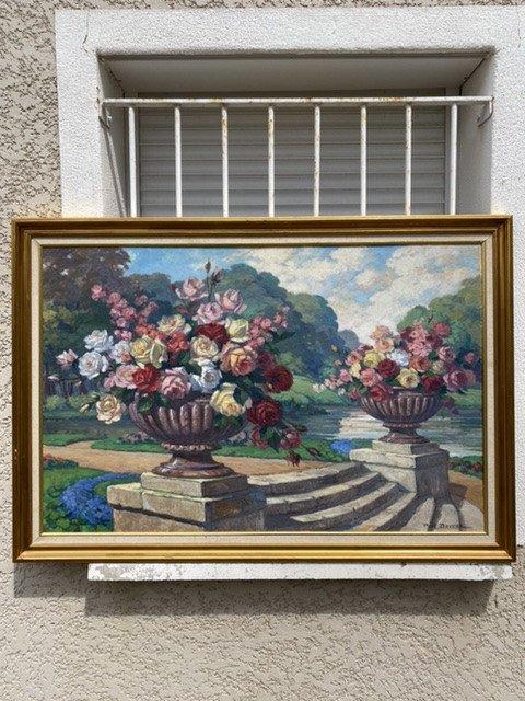 Grand Tableau De  Nature Morte  De Fleurs