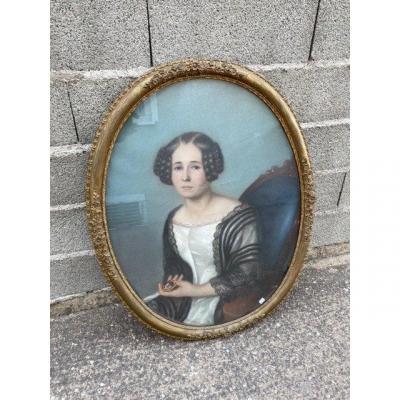 Portrait De Femme Pastel Époque XIX SiÈcle