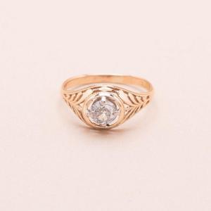 Palmette Gold Diamond Ring