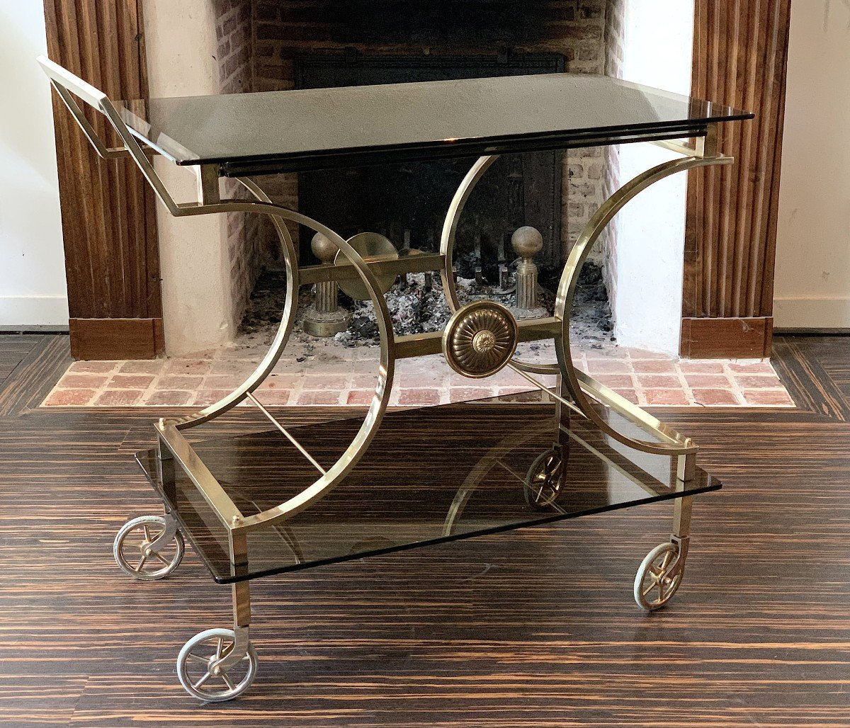 Neoclassical Style Rolling Table In Bronze Maison Jansen-photo-2