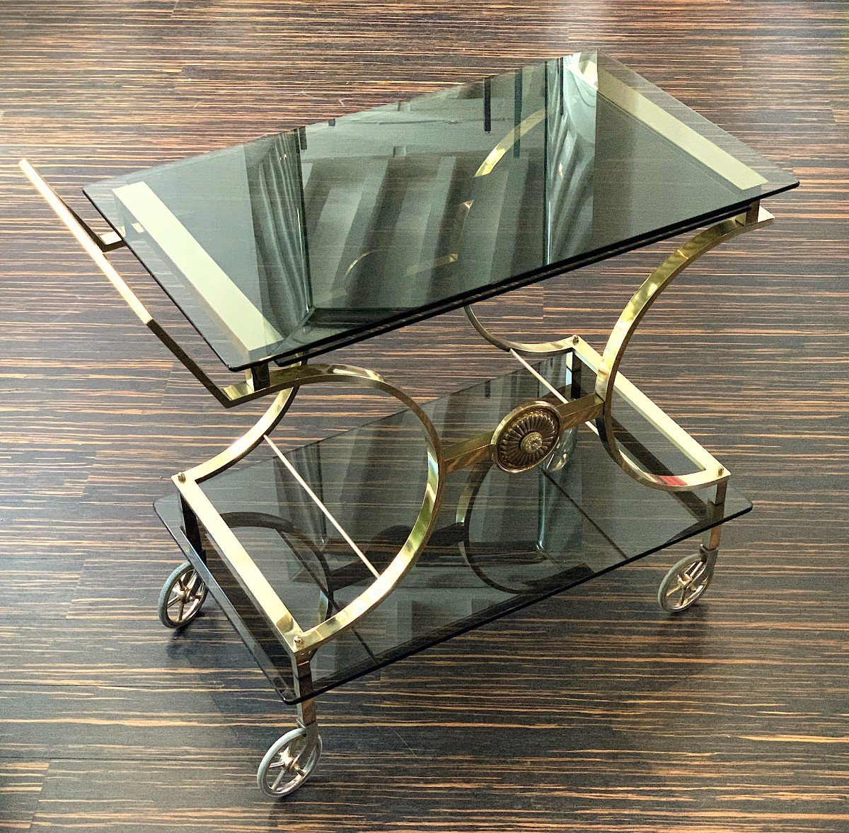 Neoclassical Style Rolling Table In Bronze Maison Jansen-photo-3