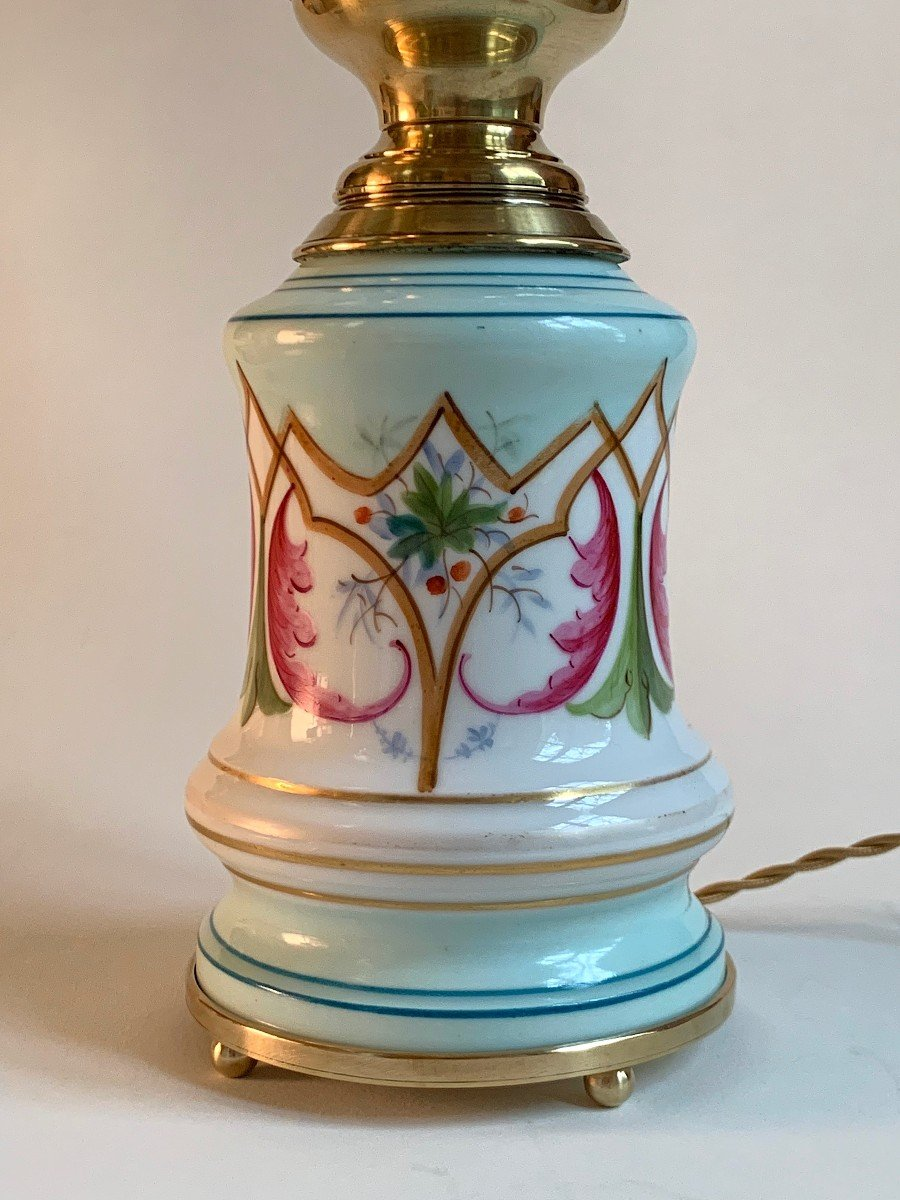 Pair Of Painted Porcelain Oil Lamps Early XXth-photo-2