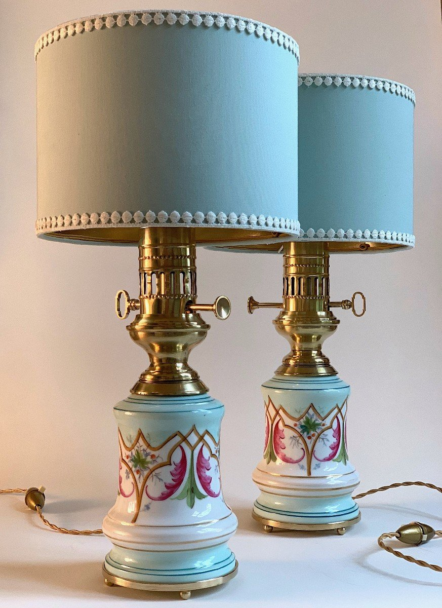 Pair Of Painted Porcelain Oil Lamps Early XXth