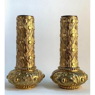 Pair Of 'art New' Bronze Soliflores Late XIXth
