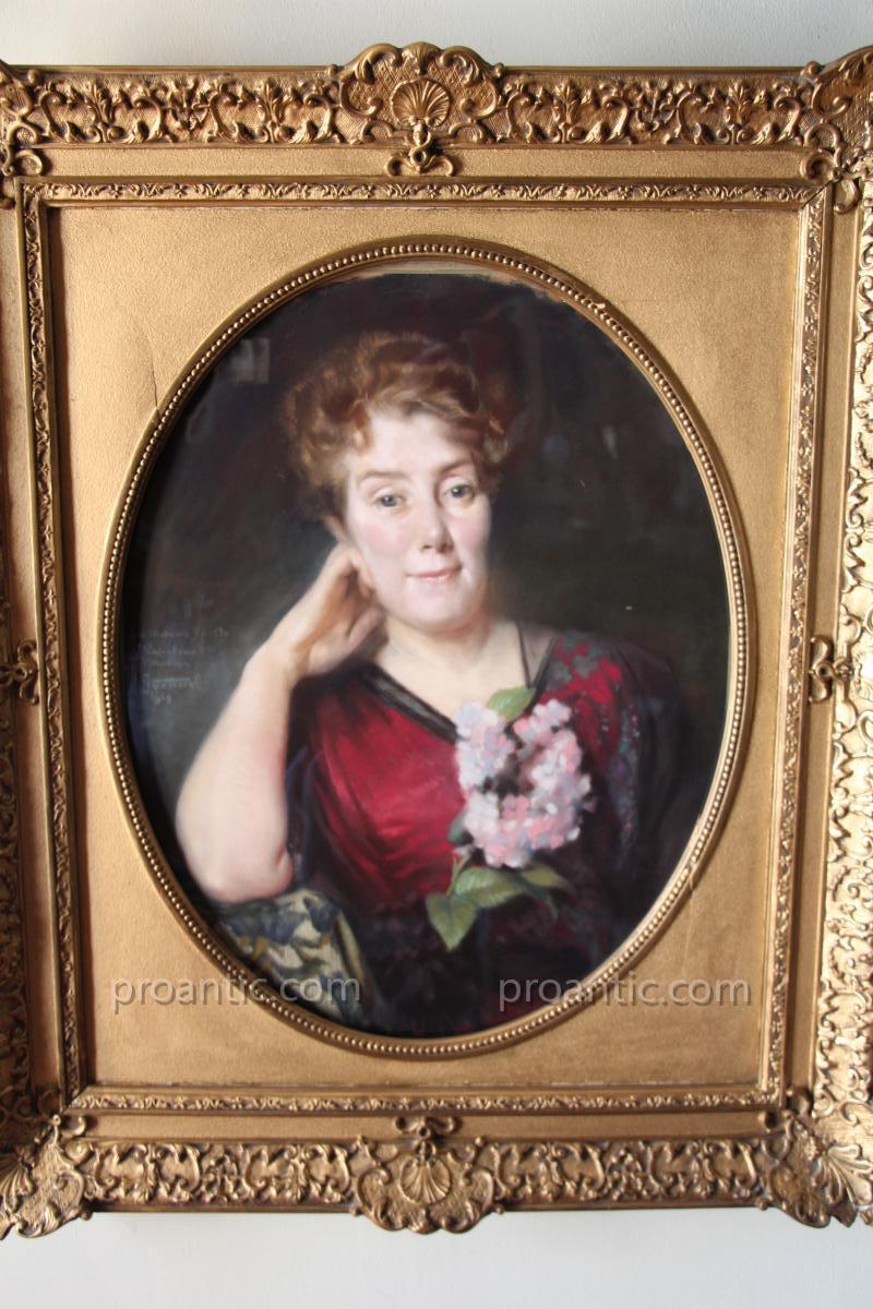 Pastel, Portrait De Madame Yberty, Signé De Gonnel, 1913