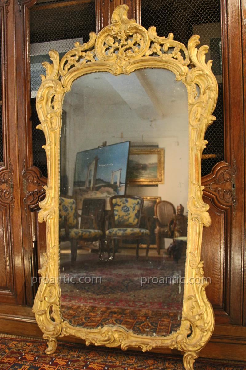 Miroir En Bois Doré , époque Louis XV, XVIIIe Siècle, Provence