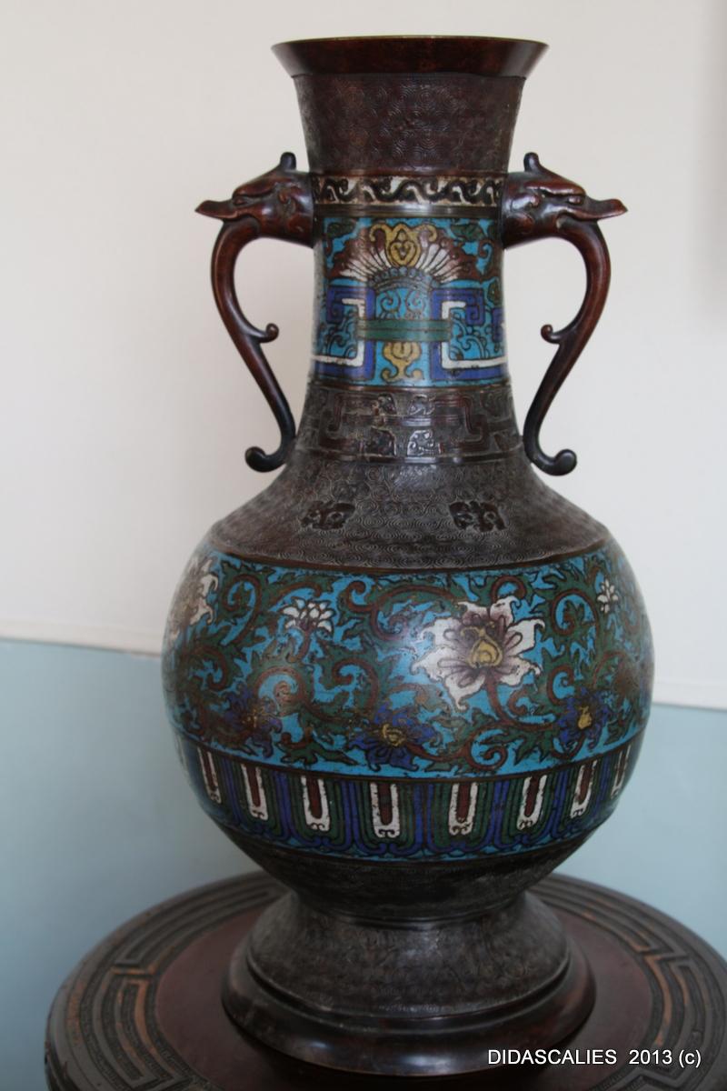 Vase en bronze à décor cloisonné, XIXe siècle