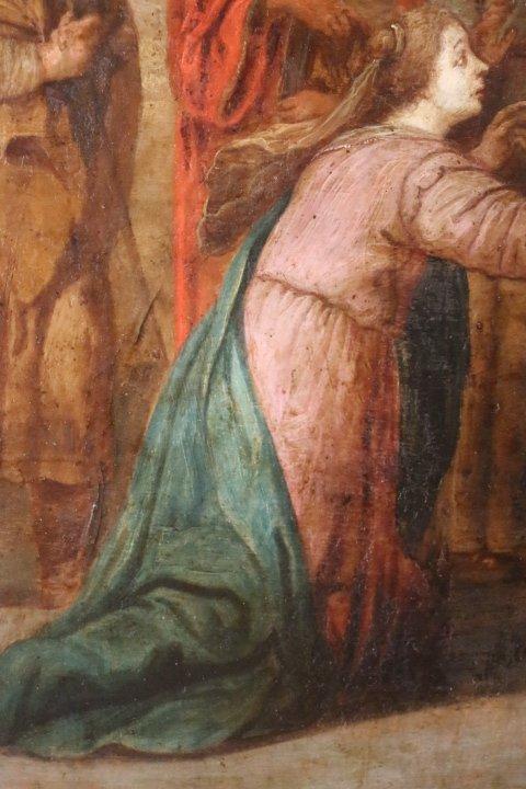 """""""La présentation au temple"""", huile sur panneau de cuivre, école italienne, XVII e siècle-photo-4"""