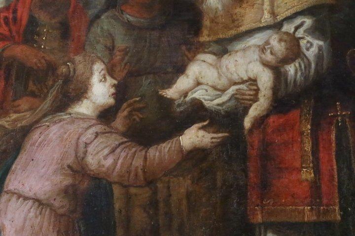 """""""La présentation au temple"""", huile sur panneau de cuivre, école italienne, XVII e siècle-photo-1"""