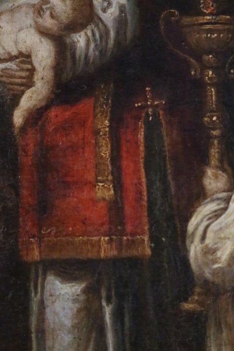 """""""La présentation au temple"""", huile sur panneau de cuivre, école italienne, XVII e siècle-photo-2"""
