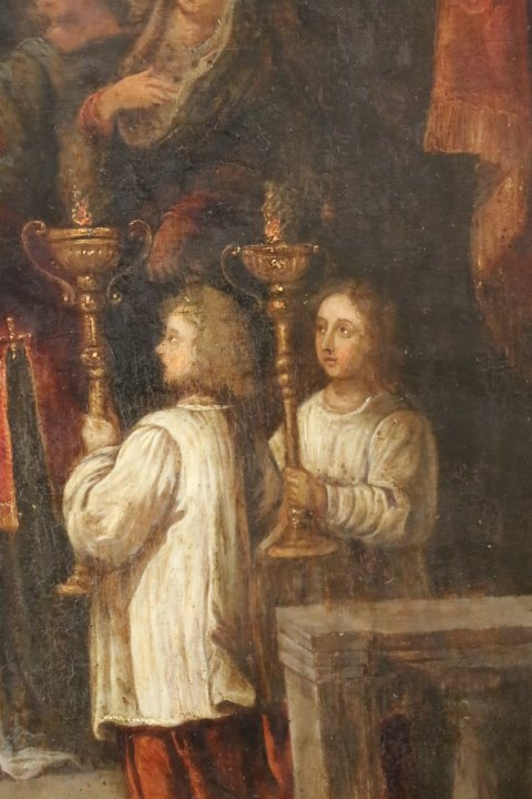 """""""La présentation au temple"""", huile sur panneau de cuivre, école italienne, XVII e siècle-photo-3"""