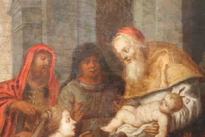 """""""La présentation au temple"""", huile sur panneau de cuivre, école italienne, XVII e siècle-photo-5"""