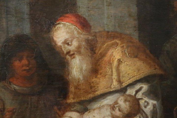 """""""La présentation au temple"""", huile sur panneau de cuivre, école italienne, XVII e siècle-photo-6"""