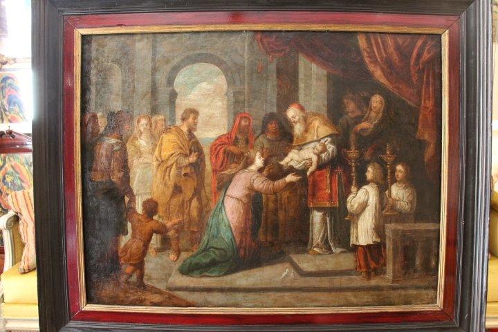 """""""La présentation au temple"""", huile sur panneau de cuivre, école italienne, XVII e siècle-photo-7"""