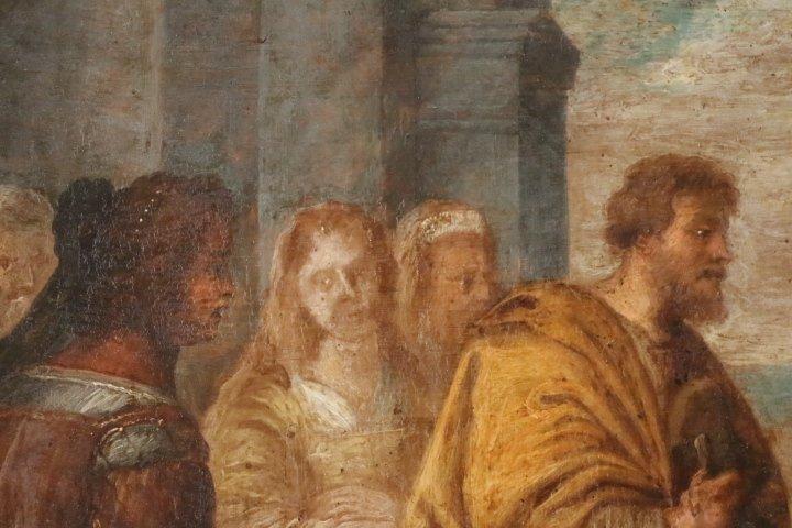"""""""La présentation au temple"""", huile sur panneau de cuivre, école italienne, XVII e siècle-photo-8"""