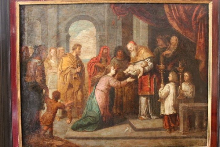 """""""La présentation au temple"""", huile sur panneau de cuivre, école italienne, XVII e siècle"""